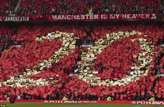 United fans made a mosaic of the No 20 after watching Ferguson take the club to their 20th league title after beating Aston Villa