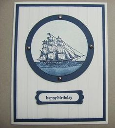 Look through the porthole with Lynn's card using The Open Sea. Love the Stripes embossing folder.