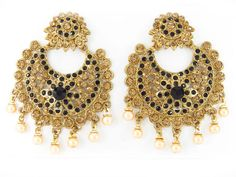 Chand bali Earrings Gold, fully studded with stones. Very good quality for wholesale purchases.