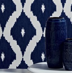 Kelly Hoppen Navy/Royal Blue and White Ikat Linen Look Wallpaper - Geometric