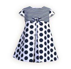 Navy Stripes and Dots Raised-Waist Dress