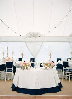 Nautical navy + pink wedding decor: http://www.stylemepretty.com/2016/01/20/nautical-navy-pink-florida-wedding/   Photography: KT Merry - http://www.ktmerry.com/