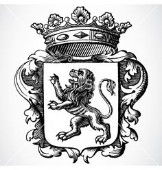 Lion and crown vector on VectorStock®