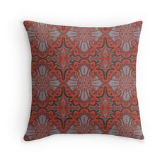 """""""Sliced pomegranat"""" organic forms,  bohemian pattern, terracotta and grey tones by clipsocallipso"""