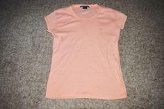 Ralph Lauren S/ S Womens Orange White Striped T Shirt Tee Pony Size Medium M #RalphLauren #KnitTop #Casual
