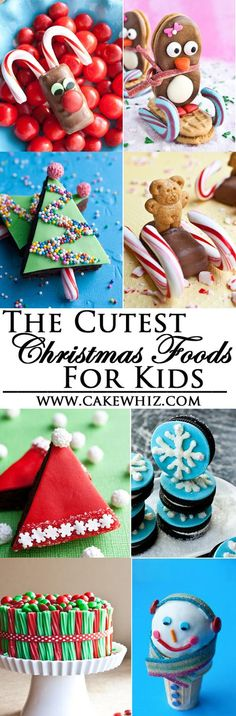 Collection of the cutest, most adorable CHRISTMAS FOOD IDEAS FOR KIDS. Great way to keep kids entertained this Holiday season. Many of these are also great to make during the Winter time. From cakewhiz.com