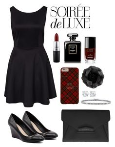 """""""Soirée de Luxe"""" by irisdeboer ❤ liked on Polyvore featuring Bebe, BERRICLE, Verali, MAC Cosmetics, Chanel and Givenchy"""