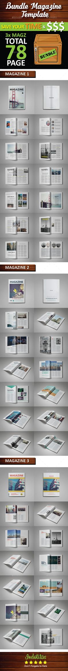 Professional InDesign Bundle magazine template that can be used for any type of industry. This item total 78 page, fully editable