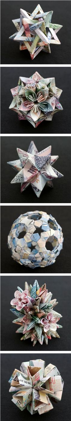 Sarah Pinyan posted Origami flower ball, with money. to her -Papercraft- postboard via the Juxtapost bookmarklet. Origami Paper Folding, Origami And Kirigami, Modular Origami, Origami Art, Oragami, Origami Ornaments, Paper Ornaments, Money Origami, Flower Ball