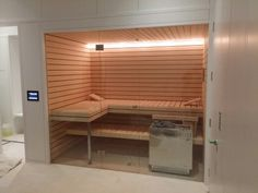 Nordic pine Sauna with inset black lines London install