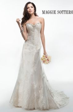 Sweetheart A-Line Wedding Dress  with No Waist/Princess Seams in Beaded Lace. Bridal Gown Style Number:32992992