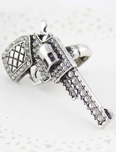 Retro Silver Crystal Pistol Ring - Sheinside.com This item would be the talk of the party