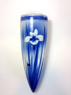 Vintage Japanese Blue and White Iris Wall Pocket by TrouveLaJoie, $90.00