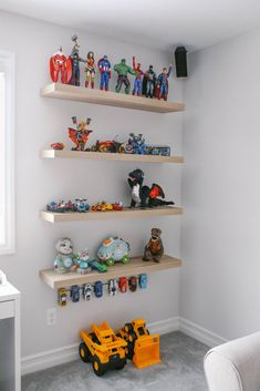 Looking for some play room organization ideas? Here is how I transformed our kids play area with Ikea items. Toy Room Storage, Kids Bedroom Storage, Bedroom Toys, Lego Storage, Toy Storage Shelves, Boy Bedrooms, Lego Shelves, Kids Room Shelves, Ikea Lack Shelves
