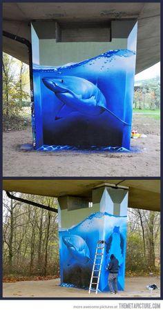 Amazing Shark Graffiti… - Amazing Street Art - Shark - by Unknown artist #Art #streetart