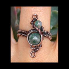 bohemian ring , boho ring , bohemian jewelry , moss agate ring , wire wrapped ring , enchanted ring , boho jewelry , mystical ring , SIZE 7