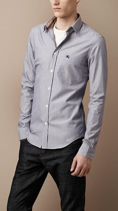 Slim Fit Chambray Shirt by Burberry