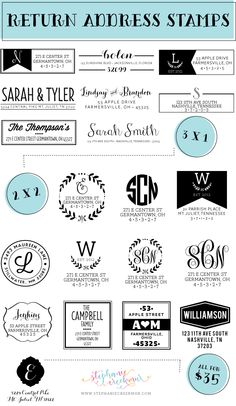 Return Address Stamps from Stephanie Creekmur. Perfect for shower, wedding, and housewarming gifts. Also great for Christmas card addressing! Wedding Invitation Cards, Wedding Cards, Invitations, Address Stamp, Return Address Labels, Silhouette Mint, Printable Labels, Printables, Custom Stamps