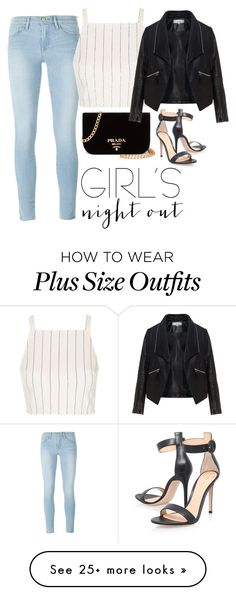 """Untitled #884"" by terryxx on Polyvore featuring Frame Denim, Topshop, Gianvito Rossi, Prada, Zizzi and girlsnightout"