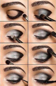 white gray black eye make up