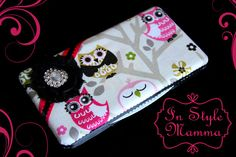 Baby Wipe Case hot pink and black owl canvas by InStyleMamma, $15.50