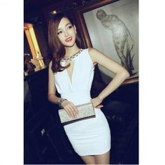 $7.86 Alluring Faux Pearl Embellished Sleeveless Narrow Waist Club Dress For Women