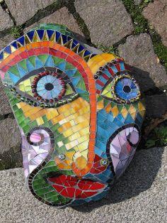 "Stone mask ""Pablo"" by Herzstücke Mosaic Masks, via Flickr"
