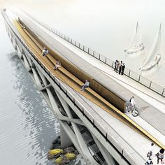 amsterdam pedestrian bridge competition - Google Search Bridges Architecture, Concept Architecture, Landscape Architecture, Landscape Design, Parque Linear, Bridge Structure, Public Space Design, Bridge Design, Pedestrian Bridge