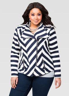 126fcfeb8e Textured Stripe Moto Jacket. Affordable Plus Size ...