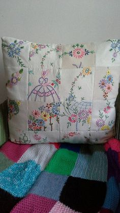 Items similar to SOLD.Patchwork cushion made from vintage embroidery and linen.(Can be ordered) on Etsy embroidery Items similar to SOLD.Patchwork cushion made from vintage embroidery and linen.(Can be ordered) on Etsy Quilts Vintage, Vintage Textiles, Vintage Patterns, Vintage Sewing, Vintage Cushions, Vintage Embroidery Patterns, Embroidery Transfers, Hand Embroidery, Embroidery Designs