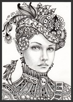 ACEO Original Sketch Card Fairy Tangle™ Victorian Steampunk Elf by Norma Burnell Zentangle Patterns, Zentangles, Images Vintage, Victorian Steampunk, Steampunk Fairy, Style Steampunk, Steampunk Clock, Sword And Sorcery, Coloring Book Pages