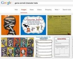 A Google search on Genia Connell Character Traits shows graphic organizers in th