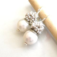 """FREE shipping  The Laurent in white fresh earrings by anthology27, $29.95  Coupon code 10%off: """" SALE10 """""""