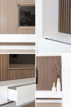 Design Detail – A Wood Slat Accent Wall Surrounds The TV In This Living Room