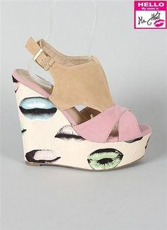 Can't think of a way to make these not-tacky. I'd so be hot in them. - Liliana Mortimer - Pop Art Lip Print Wedge - $43 - msheel.com