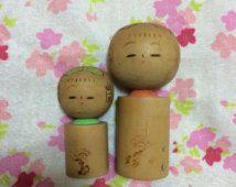 Sosaku Kokeshi poupée de bois vintage du Japon 2set