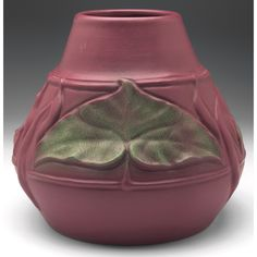 Artus Van Briggle (1869-1904) - Van Briggle Pottery - Leaves & Pods Vase, Number 239. Carved, Painted & Matte Glazed Pottery. Colorado Springs, Colorado. Circa 1903.