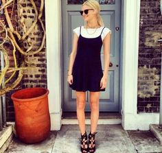 look shirt under dress black and white                                                                                                                                                                                 More