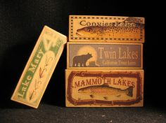 Nostalgic Mammoth Lakes California cabin decor boxes.  Boxes available for any lake, river, pond  creek or bay.