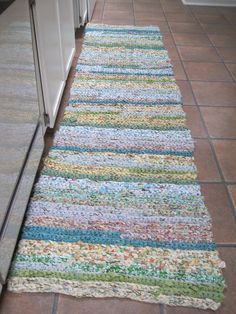 Rag Rug Crocheted From One Inch Strips Of Sheets, Some Old And Some New,