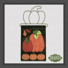 Mini Pumpkin Patch Wall Hanging PRECUT Wool Applique KIT with Instructions, Fall, Thanksgiving, Autumn, Penny Rug, Needlecraft, Orange by PennyRugsPlus on Etsy https://www.etsy.com/listing/114072566/mini-pumpkin-patch-wall-hanging-precut