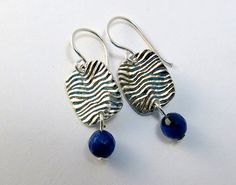 Gemstone and Silver Earrings/Sodalite Earrings/Blue Earrings/Dangle Earrings