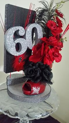 Isn't this a fun Centerpiece for a Birthday Party? 70th Birthday Parties, 50th Party, Mom Birthday, 60th Birthday Centerpieces, Party Centerpieces, Decoration Table, Shoe Decorations, Masquerade Party, Holidays And Events