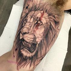 Tatuagem criada por Phetattooist de São Paulo. Leão. #tattoo #tatuagem #tattoo2me #art #arte