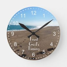 Trust God's Timing Quote Beach Round Clock - tap, personalize, buy right now! Gods Timing Quotes, Trust Gods Timing, Christian Messages, Christian Quotes, Gift Quotes, Wall Quotes, Quotes Quotes, Wall Clock Gift, Wall Clocks
