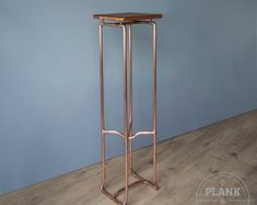 Copper Pipe Botanical Plant Stand in an Industrial / urban / Vintage Style. Hand Crafted Side table with African Sapele Hardwood. Craft Shelves, Pipe Shelves, Wood Shelves, Copper Shelving, Display Shelves, Handmade Shelving, 15mm Copper Pipe, Clothes Hanger Hooks, Industrial