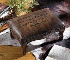 "Scripture Footstool - with worn pecan finish has a cross charm, nailhead accents and comforting words from Matthew ""Come to me, all you who are weary and burdened and I will give you rest. Crow's Nest, Western Furniture, Girl House, Inspired Homes, Home Decor Inspiration, My Dream Home, Benches, Scriptures, Crafts To Make"