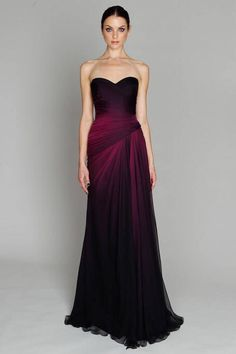 Ombré burgundy & black gown