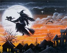 """Starry Starry Night""   All of our Witch Art and Halloween Art is for sale on Ebay or Etsy under screen name Sunbyrum. Copyright © 1999-2011 Byrum Collectibles All rights reserved. All of our designs, artistry, and photos are protected by copyright."