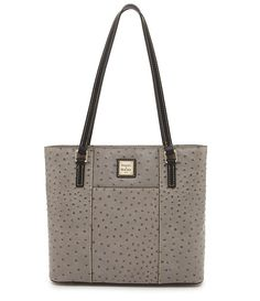 Grey:Dooney & Bourke Small Lexington Ostrich-Embossed Tote